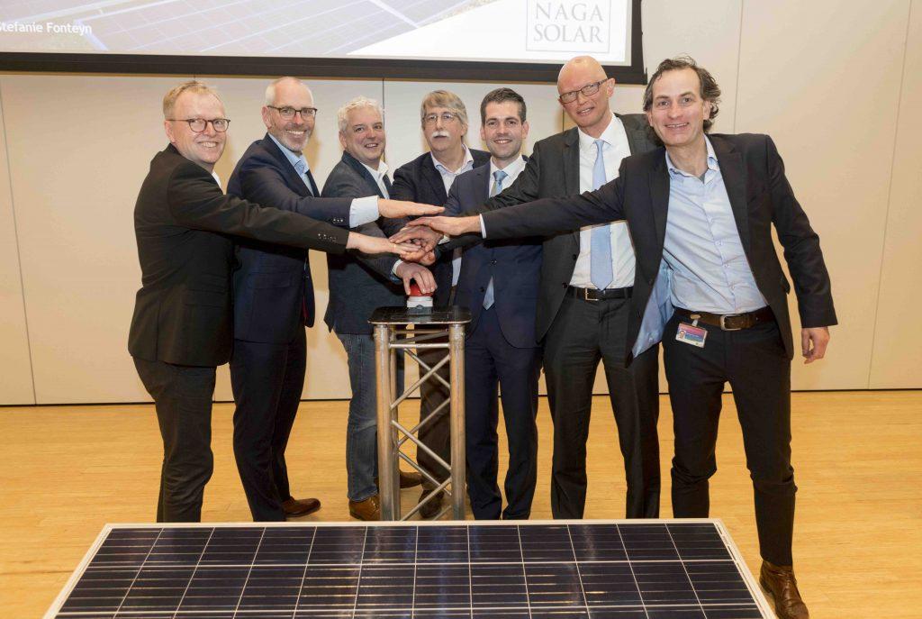 Centroplan, Spie, Provincie Limburg, NaGa, Chemelot en DSM tijdens opening zonneweide louisegroeve
